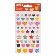 APLI 14604. 5 hojas pegatinas decorativas (Corazón estrella oso)