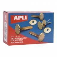 APLI 12287. Caja de 100 encuadernadores con arandela (40 mm.)