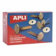 APLI 12288. Caja de 100 encuadernadores con arandela (50 mm.)