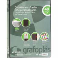 GRAFOPLÁS 98141710 Carpeta personalizable con 40 fundas soldadas polipropileno opaco. Color negro
