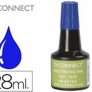 Q-Connect KF25103. Tinta azul para tampón - frasco de 28 ml.