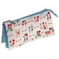 GRAFOPLAS 37540681. Estuche escolar portatodo triple Nina Friends