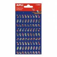 APLI 14607. 5 hojas pegatinas decorativas (Pájaros)