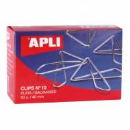 APLI 11914. Caja de clips mariposa plateados nº 10 (40 mm.)