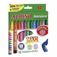 ALPINO AR000006. Estuche con 12 rotuladores de punta gruesa. Colores surtidos