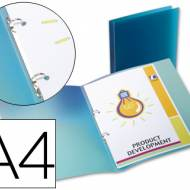 Liderpapel CA65. Carpeta A4 2 anillas redondas 15 mm polipropileno azul translúcido