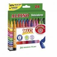 ALPINO AR000007. Estuche con 24 rotuladores de punta gruesa. Colores surtidos