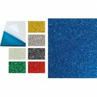 GRAFOPLAS 68015630. Pack 5 láminas de Goma Eva purpurina adhesiva de 40 x 60 cm. Color azul