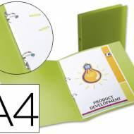 Liderpapel CA66. Carpeta A4 2 anillas redondas 15 mm polipropileno verde translúcido