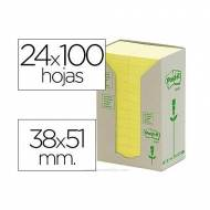 POST-IT Torre notas adhesivas papel 100% reciclado. 24 blocs 100h 38x51mm. Amarillo -  FT510110388