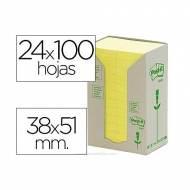 POST-IT Torre notas adhesivas papel 100% reciclado. 24 blocs 100h 38x51mm. Amarillo -  FT510110388