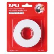 APLI 13986. Cinta adhesiva Mounting tape 3D (19 mm x 2,28 m)