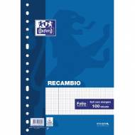 Oxford 100430207 Recambio School OPTIK PAPER 90 gr 16 taladros Folio 100 hojas 4x4