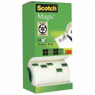 Scotch Magic 810 Cinta adhesiva invisible, 19 mm. x 33 m. Pack 14 rollos - FT510107293