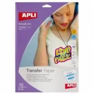 APLI 04128. Papel transfer para camisetas blancas (10 hojas)