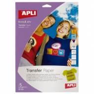 APLI 10247. Papel transfer para camisetas de color (5 hojas)