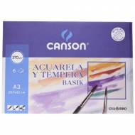GUARRO CANSON Papel dibujo acuarela y témpera, 370 g. Mini pack 6 hojas A3 - 200402393