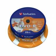VERBATIM DVD-R 16x Advanced AZO 4,7GB Imprimible Spindle 25 uds 43538