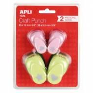 APLI 13988. 4 perforadoras de papel  (Estrella, corazón, flor y trébol)