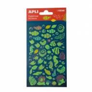 APLI 15048. 5 hojas pegatinas decorativas (Peces luminiscentes)