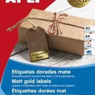 APLI 15025. Etiquetas metalizadas oro 38,1 x 21,2 mm 20 hojas