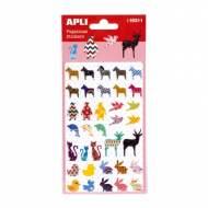 APLI 16311. 5 hojas pegatinas decorativas (Animales)