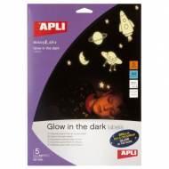 APLI 10424. Etiquetas que brillan en la oscuridad (5 hojas)