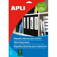 APLI 1233. Blister de 25 hojas A4 de etiquetas blancas (190,0 X 61,0 mm.)