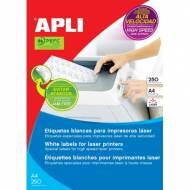 APLI 2529. 250 hojas A4 etiquetas para impresoras láser (210,0 X 148,0 mm.)