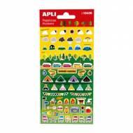 APLI 16436. 5 hojas pegatinas decorativas (Camping)