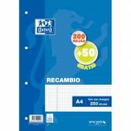 Oxford 400119437 Recambio hojas sueltas 4 taladros A4 250 hojas 4x4 90 gr.