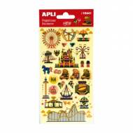 APLI 16441. 5 hojas pegatinas decorativas (Feria atracciones)