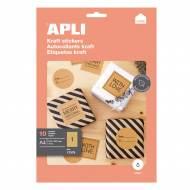 APLI 17376. Etiquetas Kraft permanentes 210,0 x 297,0 mm 10 hojas