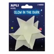 APLI 16550. 5 bolsas pegatinas luminiscentes (Estrellas)
