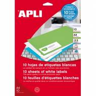 APLI 12917. Blister de 10 hojas A4 de etiquetas blancas (210,0 X 297,0 mm.)