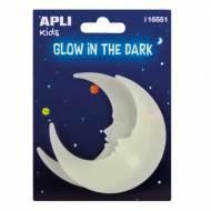 APLI 16551. 5 bolsas pegatinas luminiscentes (Lunas)