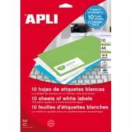 APLI 12918. Blister de 10 hojas A4 de etiquetas blancas (210,0 X 148,0 mm.)