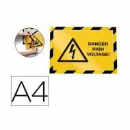 DURABLE Pack de 2 marcos de seguridad adhesivos A4. Amarillo/Negro - 4944-130
