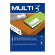 Multi3 04702. Caja de 100 hojas A4 de etiquetas ILC blancas (70 x 25,4 mm.)
