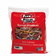GRAFOPLAS 00145099. Bolsa de 100 gr de gomas elásticas de colores y tamaños surtidos.