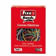 GRAFOPLAS 00145199. Caja de 100 gr de gomas elásticas de colores y tamaños surtidos.