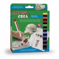 ALPINO AR000132. Estuche de 10 rotuladores textiles. Colores Surtidos