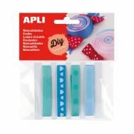 APLI 14786. Cintas de tela para manualidades tonos azules (4 und.)