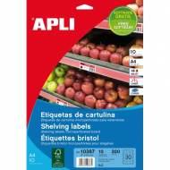 APLI 10387. 10 hojas A4 etiquetas para estanterías (67 x 25.4 mm.)
