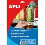 APLI 10388. 5 hojas A4 etiquetas magnéticas (80 X 28 mm.)