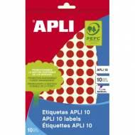 APLI 02732. Etiquetas adhesivas rojas escritura manual (ø 10 mm.)