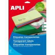 APLI 10051. Blister 10 hojas A4 etiquetas translúcidas (70,0 X 37,0 mm.)