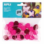 APLI 14788. Pompones para manualidades en tonos rosas (25 und.)