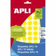 APLI 02734. Etiquetas adhesivas amarillas escritura manual (ø 13 mm.)