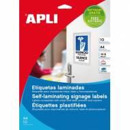 APLI 11682. 10 hojas A4 etiquetas laminadas ( 84,5 X 54,0 mm.)